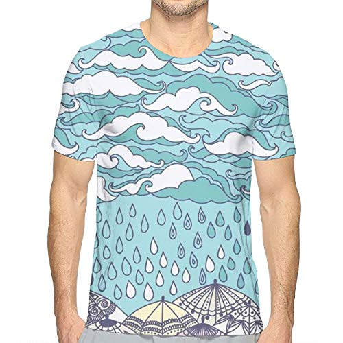 Preisvergleich Produktbild Men's 3D Printed T Shirts, Funky Overcast Cumulus Clouds Like Sea Wave Floating Wet On Ethnic Umbrella S