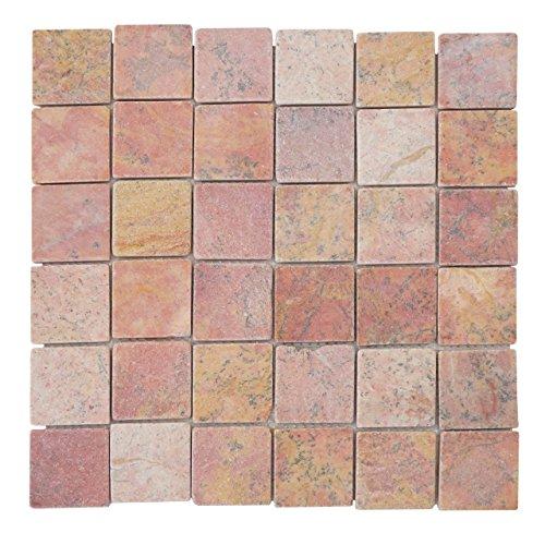 Mendler Steinfliesen Vigo T690, Marmor Naturstein-Fliese Quadrate, 11 Stück je 30x30cm = 1qm ~ terrakotta