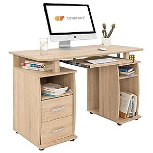COMIFORT T05S - Mesa de Ordenador, Escritorio, Mesa de Oficina, 115x55x76 cm, Color Roble Sonoma