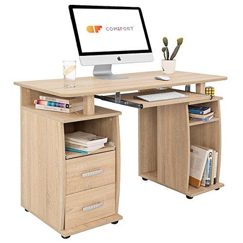 COMIFORT T05S - Mesa de Ordenador, Escritorio, Mesa de Oficina, 115x55x76 cm, Color Roble Son