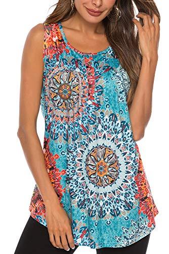 Bequemer Laden Damen T-Shirt Sommer Top Knopfleiste Bluse Einfarbig Kurzarm T-Shirt Casual Bluse Tunika Tops Blume Sonnenblau, M