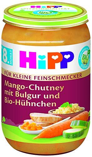 HiPP Für kleine Feinschmecker Menüs, Mango-Chutney mit Bulgur und Bio-Hühnchen, 6er Pack (6 x 220 g)