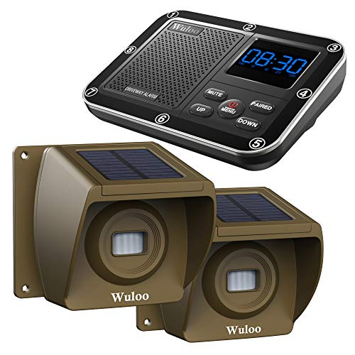 Solar Driveway Alarm Wireless Outside 1800ft Range, Outdoor Motion Sensor & Detector Driveway Alert System with Rechargeable Battery/Weatherproof/Mute Mode(1&2-Brown)