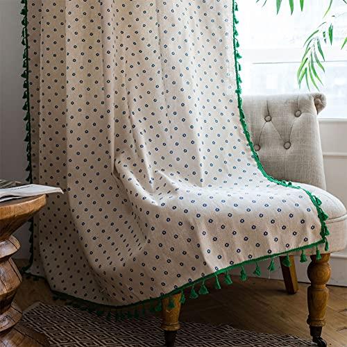 1 pezzo ciano crisantemo tende per finestra semi-oscurante per soggiorno camera da letto, stile pugno 59 'W x 86,6' L (150x220 cm)