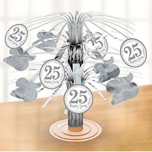 PARTY DISCOUNT® Tisch-Deko Kaskade Silber Hochzeit, 19 cm