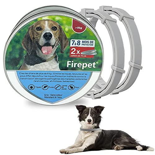 Firepet Collare Antiparassitario per Cani di Grandi Dimensioni Medio Grande   8 kg, 70 cm (2 Collari)