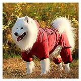 Big Dog Ropa de otoño y Ropa de Invierno Golden Retriever Labrador Samoyedo Mediano y Grande Perro Escudo Acolchada for Mascotas de Cuatro Patas (Color : Red-8XL)