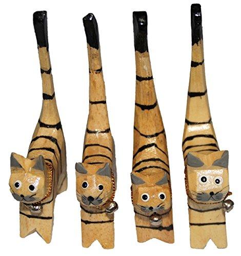 Set aus 4 Holz-Katzen 11 cm mit verschiedenen Mustern (Set-Muster-gestreift)
