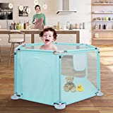 Playpen for Baby, Johgee Kids 6-Panel Portable Baby Playpen, Indoors or Outdoors Child Playpen Fence with Playmat& Carry Case & Breathable Mesh for Babies Toddler Newborn Infant (Blue Hexagon)