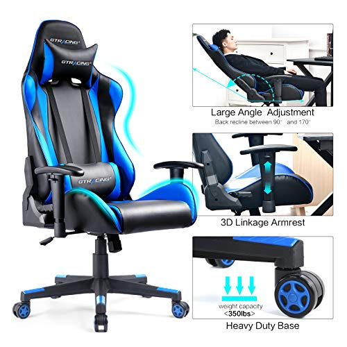 Gtracing Gaming Chair Racing Office Computer Game Desk Chair Ergonomic Backrest...