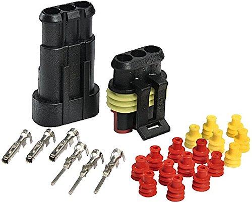 HELLA 8KW 744 805-801 SUPERSEAL-Steckverbindungen, Set, B 03, je 2 Stiftkontakte 1,0 – 1,5 mm², Buchsenkontakte 1,0 – 1,5 mm², je 2 Einzelleiterdichtungen, 1-polig, 10 Stück