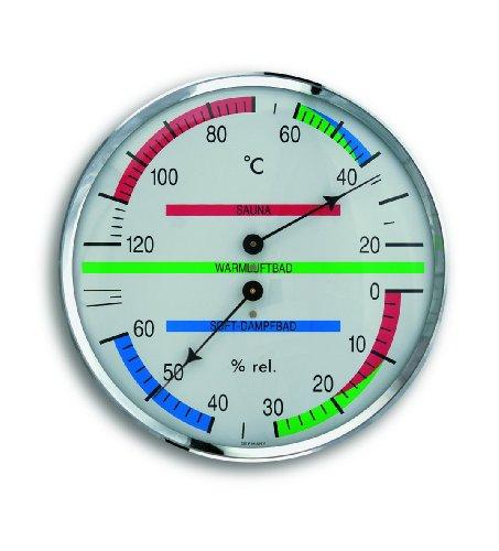 TFA Dostmann Analoges Sauna-Thermo-Hygrometer, mit Metallring, Temperatur, Luftfeuchtigkeit, ideal für die Sauna