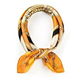 100% Real Mulberry Silk Scarf -21'' x 21''- Lightweight Neckerchief –Women Men Small Square Digital Printed Scarves (Orange)