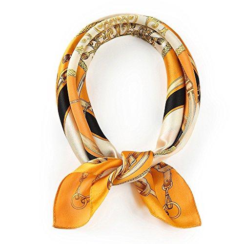 100% Real Mulberry Silk Scarf -21'' x 21''- Lightweight Neckerchief –Women Men Small Square Digital Printed Scarves (Orange)
