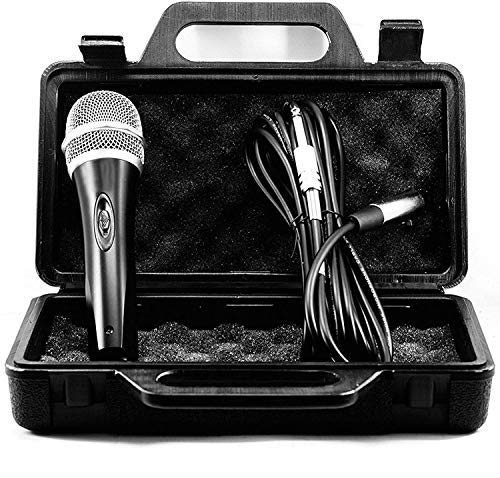 TronicXL Mikrofon Set dynamisch 5 Meter langes Kabel Klinke Stecker 6,35mm Universal Handmikrofon Microphone Singen Moderation Bühne Karaoke Hochzeit Gesang Gesangsmikrofon kabelgebunden (Mit Koffer)