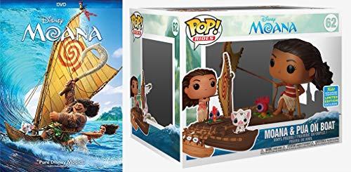 Those Seas Are Choppy Exclusive Pop W/ Movie Bundle: Moana DVD + Funko Pop! Rides Disney Moana & Pua on Boat Vinyl Figure - 2019 Summer Convention Exclusive (2 Item Bundle)