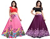 TUCUTE® Women's Sarina Printed Long Skirt Bottom (Free Size) (Pack of 2 Pcs) Smart Combo. (X-Large, Floral Purple+Pink-4208)