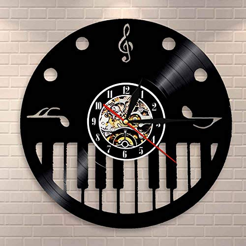 Regalos para Hombres Teclas de Piano y Clave de Sol Disco de Vinilo Reloj de Pared Pianista Artista Musical Decoración de la Pared de la habitación