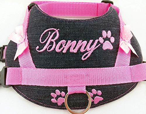 Hundegeschirr S M L XL XXL Brustgeschirr mit Namen bestickt Jeans Rosa kleine mittelgroße und große Hunde