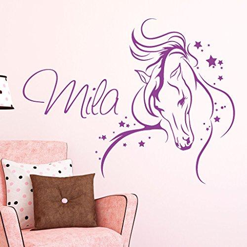 Wandtattoo Pferd mit Sternen Wunschname Mädchen Kinderzimmer/Lavendel / 115 x 136 cm