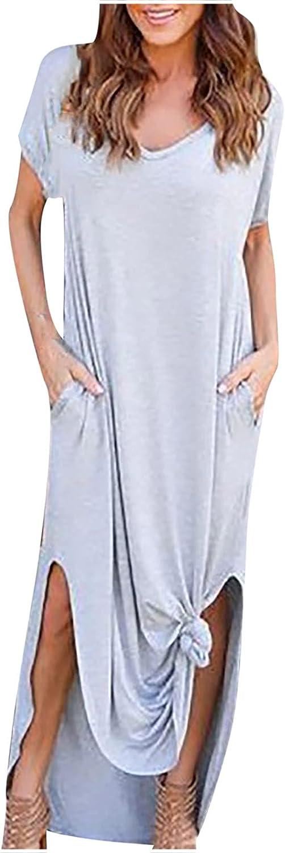 Sun Dresses Women Summer Women Casual Short Sleeve O-Neck Solid Color Straight Floor-Length Dress Casual Sexy Boho