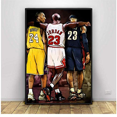wzgsffs Kobe Bryant Michael Jordan Lebron James Basketball Kunst Leinwand Poster Home Wall Decor Malerei Wandkunst Home Decor -50x70cm Kein Rahmen
