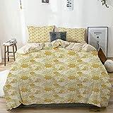 Juego de funda nórdica beige, arreglo floral abstracto con pétalos y hojas en flor, lunares dibujados a mano, juego de cama decorativo de 3 piezas con 2 fundas de almohada Easy Care Anti-Alérgico Soft