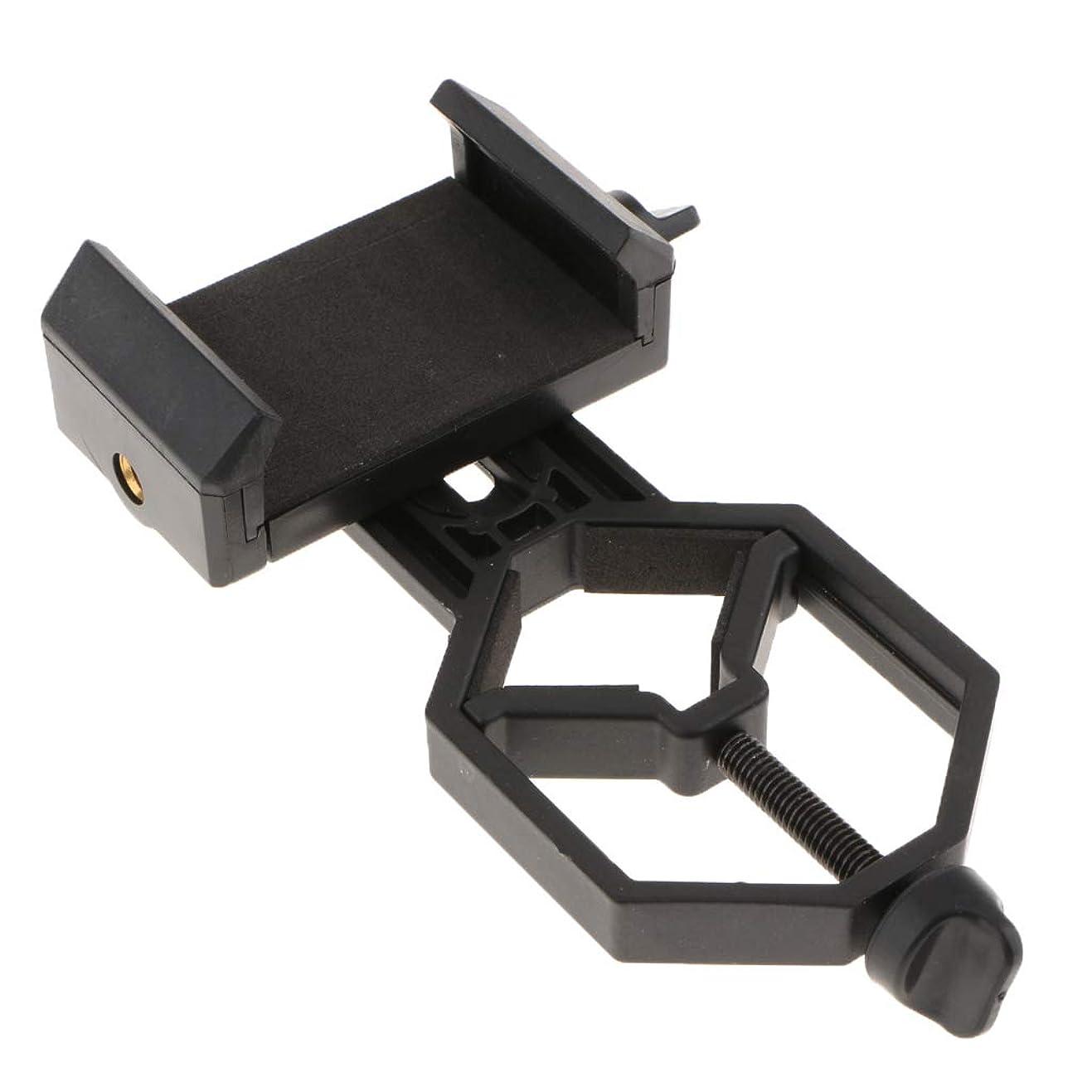 拒否騒砲兵Sharplace ブラック 望遠鏡カメラアダプター スマホホルダー 調整可能 接続アダプタ 亜鉛合金