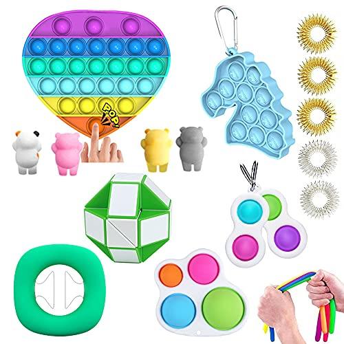 MMTX Fidget Toys Pack, Fidget Toys Pas Cher avec des fossettes Simples Anti Stress et Outils de soulagement du Stress Fidget Sensory Jouet Set pour Enfants Adultes et Couples Cadeau