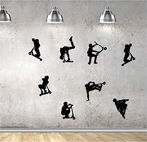 Online Design Niños Acrobacia Scooters,Saltos,Trucos,Vinilo Decoraciones de Pared Pegatinas para Ventana Secoración de Pared Pegatinas para Pared Decorativas Pared Pegatinas Adhesivo Pared Adhesivos