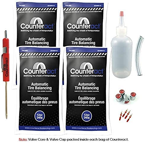 Counteract DIYK-12 Do It Yourself Tire/Wheel Balancing Beads Kit - Off -Road, Medium/Heavy Duty Truck Tires, (4) 12oz DIY Bead Bags, (4) Valve Caps and Cores, (1) Core Remover, Injector Bottle
