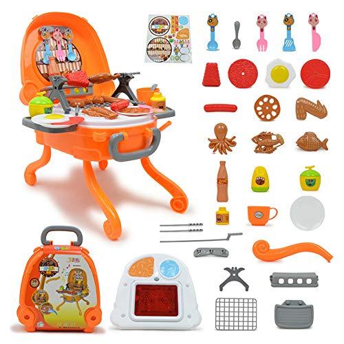 Volbaby Simulation Küchengrill Tragbarer Grill Mini BBQ Grill Spielzeug, Kinder Grill Spielset mit Licht und Ton, Interaktiver Rollenspiel Spielen Sie Essen Kochen Spielset für Mädchen Jungen