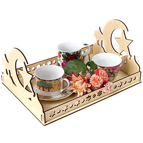 Houten DIY Eid Mubarak Dessert Lade Moslim Ramadan Voedsel Decoratie Houder P Holle Ambacht Serveerservies Feestartikelen