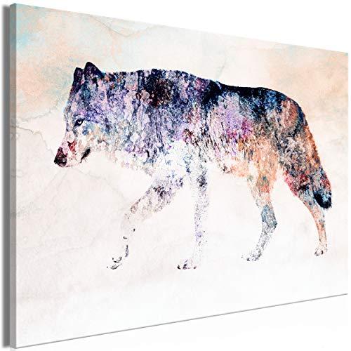 decomonkey Bilder Tiere Abstrakt 90x60 cm 1 Teilig Leinwandbilder Bild auf Leinwand Vlies Wandbild Kunstdruck Wanddeko Wand Wohnzimmer Wanddekoration Deko Wolf Street Art bunt