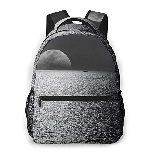 White Black Moon Evening Night Time Seascape Print Lightweight Backpacks Casual School Bags Daypacks