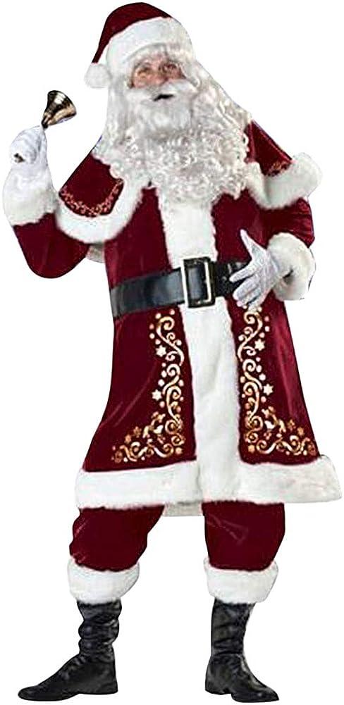 LAOZI Costume di Babbo Natale per adulti Set di costumi di Natale per costume cosplay per feste