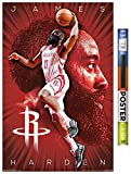 Trends International Poster Clip NBA Houston Rockets - James Harden, 22.375' x 34', Premium Poster & Clip Bundle