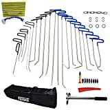 Furuix Paintless Dent Repair Tools Dent Removal PDR Rods 33pcs PDR Tool Hail Removal Auto Body Ding Dent Repair Rod Hook Wedge Paintless Hail Removal Tool (PDR-110)