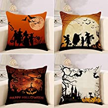 TechFocus Halloween Decorations Throw Pillow Covers - Set of 4 Decorative 18x18-inch Cotton Linen Cushion Cases - Spooky Couch and Bed Accents - Great Autumn, Fall and Pumpkin Harvest Themed Decor
