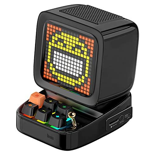 Divoom Ditoo Multifunctional Pixel Art LED Tragbarer Bluetooth Lautsprecher, 256 Programmierbares LED Panel mit Party Licht, Smart Digital Tischuhr, Gaming Musikbox unterstützt TF Karte & Radio