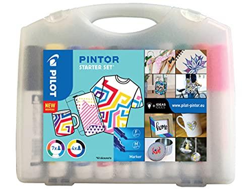 PILOT - Malette de 11 Pintor - Marqueurs Peinture Multi-Supports à Base d'Eau, Séchage Rapide - Textile, Verre, Bois, Pierre, DIY - 11 couleurs - Pointe fine (x7) et Large (x4)