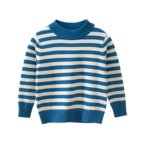 Quality Children Sweater Autumn Winter Strip Cotton Boy Girl Baby Sweater Fashion Casual Long Sleeve O-Neck Kids Clothes Blue 2T