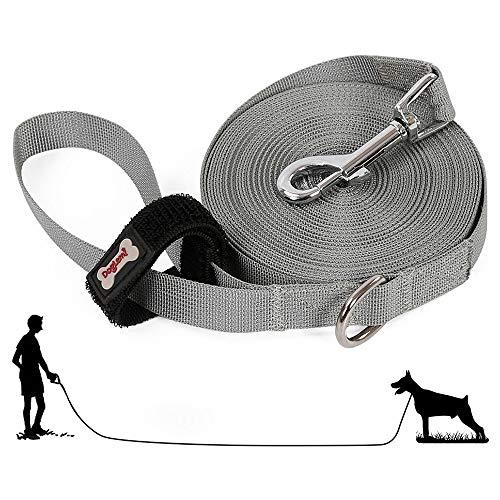 10m Hundeleine Schleppleine, Lang Leine Hund für Kleine bis Große Hunde, Fährtenleine Suchleine Übungsleinen Laufleine Trainingsleine für Hunde, Bissfeste Wasserabweisend Nylon Dog Leash Lead(Grau)