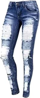 Womens Casual Long Jeans Destroyed Ripped Hole Trousers Denim Pants