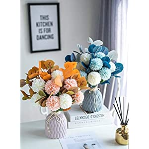 NFW Artificial Flowers with Ceramic Vase Silk Hydrangea Fake Flower Arrangements for Home Office Spring Party Wedding Table Centerpieces for Dining Room Table Kitchen Decoration (Blue, Pink, Orange)