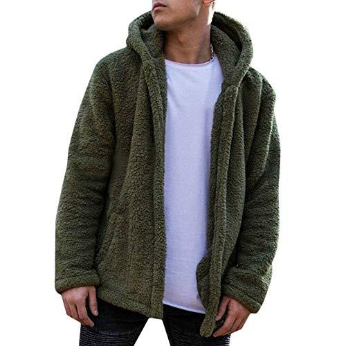 BEONDSK Mens Warm Winter Teddy Bear Fluffy Hooded Cardigan Hoodie Jacket Coat