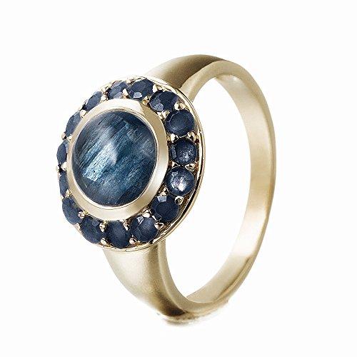Goldancé - Anillo de mujer - plata esterlina 925 bañada en oro - auténtico piedras preciosas: Blue Sapphire ca. 2.41ct. - R8169BSAPH_SS/14K / Gr. 60 (19.1)
