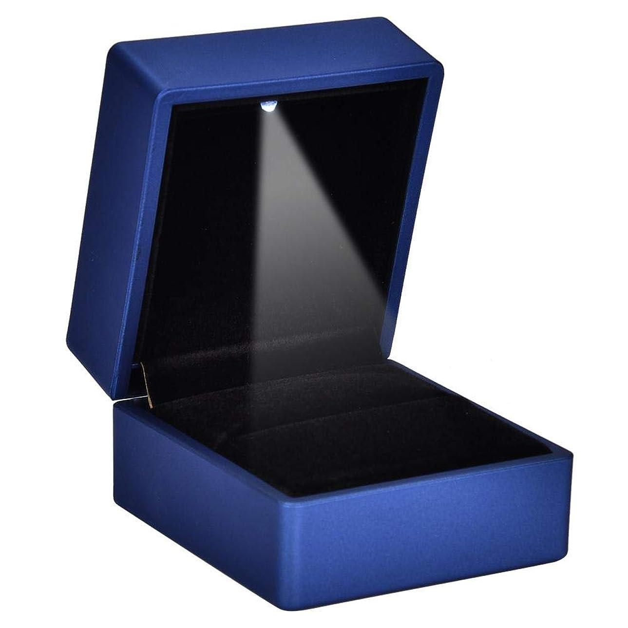 外部つまらないニンニク2種類ファッショナブルなLEDリングボックス - 内部LED照明付きリングケース、ジュエリーホルダーリング収納ケース、結婚式の提案(ブルー-90 * 70 * 35)