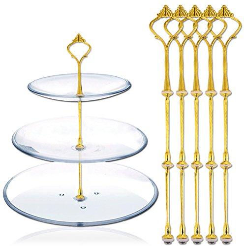 Hamimelon 5 Set Gold Metallstange Mittellochausstech bis 3 Etage für Hochzeitstorte Etagere Tortenständer Tortenhalter Torten