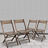 Flash Furniture Slatted Wood Folding Special Event Chair - Antique Black, Set of 4